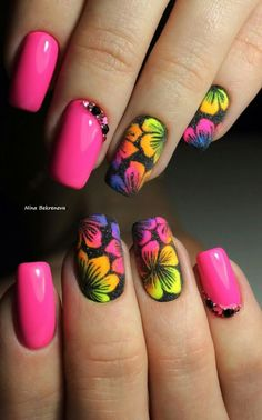 21 - You want to make your nail polishes patterned, here are examples. - 1 We are introducing 2019 marbling nail designs with you. How about meeting y. Rainbow Nails, Neon Nails, Cute Acrylic Nails, Fancy Nails, Cute Nails, Pretty Nails, Spring Nails, Summer Nails, Jolie Nail Art
