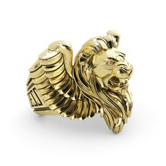 We all know LeBron James is the king of basketball. Is your man the king of your heart? Of course he is.Your basketball lovin man would love to sport a piece that LeBron also owns. Show him he's the man for you with this solid gold winged lion ring.
