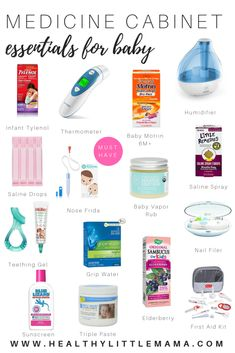Medicine Cabinet Essentials for Baby is part of Medicine cabinet Essentials - Be prepared with all the stuff you need for when baby gets sick This is the list of what you should have in your baby medicine cabinet Mama Baby, Baby Boy, Baby Must Haves, New Born Must Haves, Baby Care Tips, Baby Tips, Bebe Video, Nose Frida, Baby Health