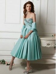 Silk Pongee Strapless Embellished with Natural Stones Bodice A-line Prom Dress