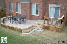 Medium size, low, 2-level deck with a bench (#2R7213).