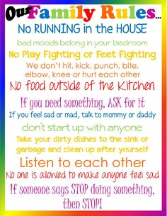 Common Parenting Rules that Should be Broken Our Family Rules Poster!
