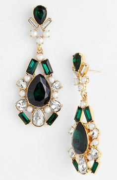 On the wishlist! Kate Spade emerald and pearl drop earrings.