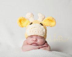 Crochet PATTERN - Baby Giraffe Beanie Crochet Hat Pattern - Instant Download PDF 175 - Newborn to Adult - Photography Prop Pattern