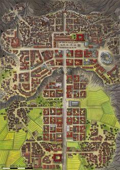 Brajanopolis city Farmland Cliff mountain Road s Arena Temples etc lg Fantasy Town, Fantasy City Map, Fantasy World Map, Fantasy Places, Plan Ville, Dnd World Map, Pathfinder Maps, Village Map, Rpg Map