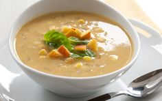 Sweet corn soup with peaches (this is one of my favorites -- yummm)