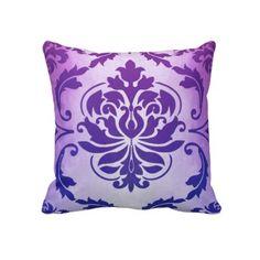 Diamond Damask, SUMATRA in Plum and Blue Pillow
