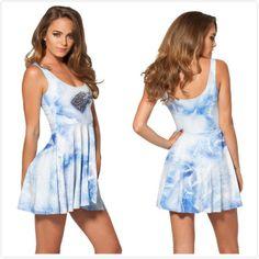 New 2014 women Blue Printed Milk Pleated Dress,designer women summer sexy casual dresses,beach dress S M L free shipping $24.05