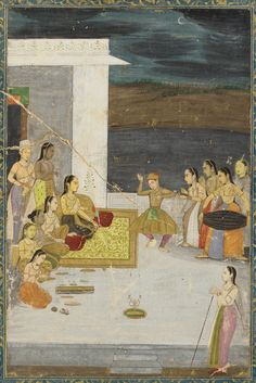 A Princess entertained by a dancer; attendants and musicians early 18th century Mughal dynasty: