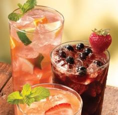 Olive Garden Berry Acqua Fresca - in search of the recipe but it has purees of blackberry, blueberry, and strawberry, with sparkling water and chopped berries floating.