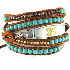 The Desert Breeze Wrap Beaded Medical Bracelets are a fun casual mix of gold, silver and turquoise beads wrapped in a brown leather cord. This is the