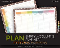 Empty Weekly Planner Calendar, To Do List, Weekly Schedule    Pastel Printable Planner DIY Binder Organizer    Household PDF Printables