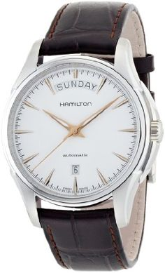 Hamilton Jazzmaster White Dial SS Leather Automatic Men's Watch H32505511 * Click on the image for additional details.