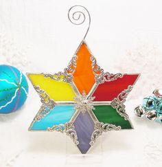 Rainbow Snowflake by MoreThanColors on Etsy, $28.50