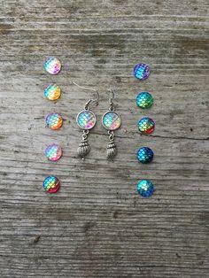 Earrings - Seashell - Mermaid - Dragon - Scales - Fantasy - Resin - Cabochon - New Age - Hippie - Folk - Boho by Nattspinnas on Etsy