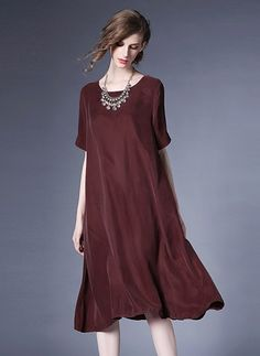 Polyester Solid Short Sleeve Mid-Calf Casual Dresses (1012060) @ floryday.com