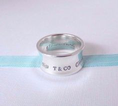 cfb3cb24a Tiffany & Co Size 10.5 Sterling Silver Wide 1837 Concave Ring Band with  Pouch