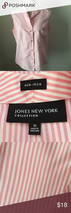 "JONES NEW YORK Pink & White Non-Iron Top Size 10 JONES NEW YORK Pink & White Striped Non-Iron Sleeveless Top Size 10.  Crisp and professional 100% cotton for the office or to last all day for shopping and sightseeing.   Pretty gold buttons and vertical seaming add femininity.  Bust 38"", Waist 36"", Hip 41"", Length 23.5"". Jones New York Tops Button Down Shirts"