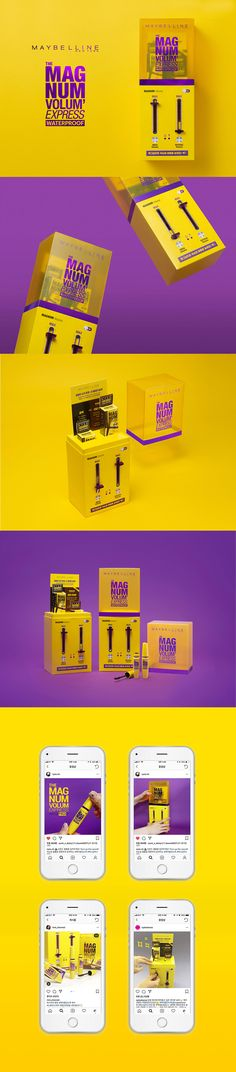 Maybelline New The Magnum Volum Express Press kit on Behance Cosmetic Packaging, Beauty Packaging, Packaging Design, Product Packaging, Packaging Ideas, Maybelline, Cosmetic Design, Jobs Apps, Promote Your Business