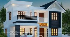 Dream house plans in kerala new 4 bhk 1763 square feet modern house plan festive 2 Storey House Design, Duplex House Design, Duplex House Plans, House Front Design, New House Plans, Dream House Plans, Modern House Plans, Modern House Design, 30x40 House Plans