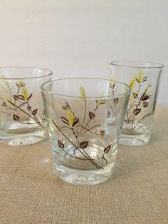 Vintage Glasses  Swanky Swigs Set of 3 Wheat by PineStreetPickers