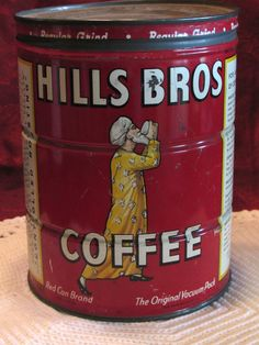 1950's Hills Bros Coffee Tin TeamVintageUSA by LasLovelies on Etsy
