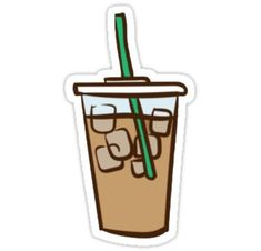 """""""Iced Coffee Stickers by lawjfree Preppy Stickers, Cute Laptop Stickers, Red Bubble Stickers, Food Stickers, Printable Stickers, Planner Stickers, Coffee Doodle, Homemade Stickers, Coffee Drawing"""