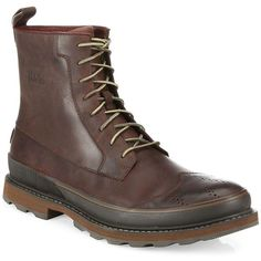 Sorel Madison Leather Wingtip Waterproof Boots (730 BRL) ❤ liked on Polyvore featuring men's fashion, men's shoes, men's boots, men's work boots, men's shoes - designer shoes, mens round toe cowboy boots, sorel mens boots, mens water proof boots, mens wingtip boots and mens leather work boots
