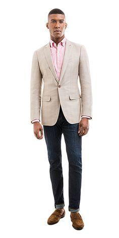 How to Choose a Blazer Tan Blazer Outfits, Khaki Blazer, Blazer With Jeans, Brown Blazer, Shirt Outfit, Cream Jacket, Cream Blazer, Cream Shirt, Blazers For Men