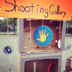 Nerf Gun + home made shooting gallery = great school festival feature.