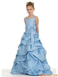 Blue Taffeta Flower Girl Dresses 2012 Pick Up