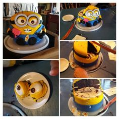 Minion Cake by The Dapper Dipper. She makes custom cakes. Check her out on Facebook.