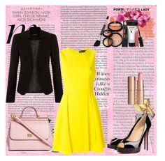 """vestido"" by gessilene-ferreira on Polyvore featuring moda, Versace, Christian Louboutin, Dolce&Gabbana, Laura Geller, Charlotte Tilbury e Hermès"