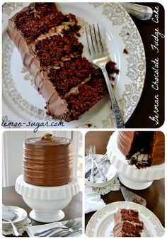 They call this German chocolate cake, but it's really a fudgy cake with the typical German chocolate coconut pecan filling.  Real German chocolate cake uses German's sweet chocolate.  I know that sounds nitpicky, but it makes a huge difference in the flavor.