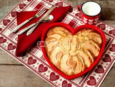 breakfast apple pie with milk mug over heart decorated country placemat