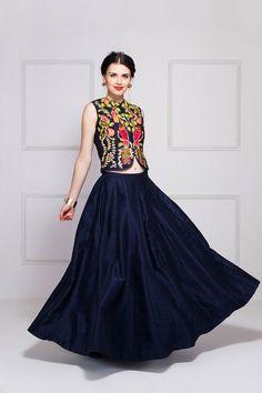 Navy Blue Raw Silk Waistcoat & Skirt.