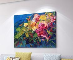 Flowers Painting on Canvas Colorful Roses Painting, Impressionist Painting, Floral Painting, Modern Painting, Large Art for Living Room Abstract Canvas Art, Acrylic Painting Canvas, Canvas Wall Art, Painting Abstract, Your Paintings, Original Paintings, Colorful Roses, Floral Flowers, Impressionist Paintings