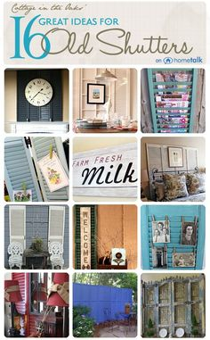 Junk 183 - old shutters DIY:: Beautiful Budget Home Decor Projects Using repurposed old shutters ! Each has Own Tutorial !DIY:: Beautiful Budget Home Decor Projects Using repurposed old shutters ! Each has Own Tutorial ! Repurposed Items, Repurposed Furniture, Diy Furniture, Diy House Projects, Diy Projects To Try, Craft Projects, Craft Ideas, Decor Ideas, Room Ideas