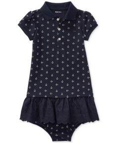 Ralph Lauren Anchor-Print Cotton Polo Dress, Baby Girls (0-24 months) - Anchors Away 18 months