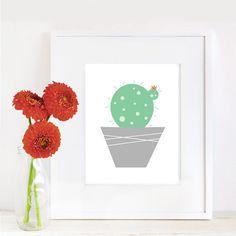 Flower Cactus Wall Print -Minimal - 8x10 by Fishtitch on Etsy https://www.etsy.com/listing/243770752/flower-cactus-wall-print-minimal-8x10