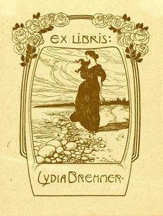 Bookplate by Mathieu Molitor for Lydia Brehmer, 1900c.