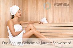 Das Beauty-Geheimnis lautet: Schwitzen! Der Gang in die #Sauna ist sehr entspannend und hilft, die #Haut frischer und schöner aussehen zu lassen.  Das #Schwitzen entschlackt den #Körper und stärkt gerade in kalten Monaten das #Immunsystem. http://www.dr-dacho.de