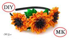 Подсолнухи канзаши, МК / DIY Ribbons Sunflowers / DIY Kanzashi Sunflower...