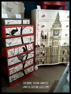 DIY Mod Podge Poster Furniture Makeover: Find a poster big enough & mod podge to front of cabinet or chest. Use an Exacto knife to slit around the drawers & some gentle sanding on all the edges to take off the extra paper. Furniture Market, Furniture Projects, Furniture Makeover, Diy Furniture, Furniture Stores, Furniture Plans, Furniture Repair, Furniture Outlet, Office Furniture