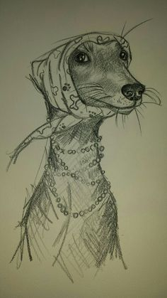 Dog with headscarf by Lindsay Norman