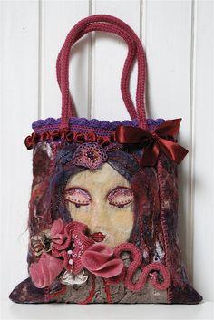 felt purse with crochet and felt embellishments by Marianne Handmade Handbags, Handmade Bags, Wet Felting, Needle Felting, Diy Sac, Felt Purse, Wool Art, Art Bag, Felt Art