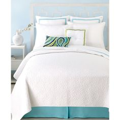 Trina Turk Santorini White Twin Coverlet ($120) ❤ liked on Polyvore featuring home, bed & bath, bedding, quilts, white, trina turk bedding, white twin coverlet, twin bedding, white bed linen and white quilt coverlet