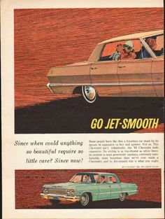 "1963 CHEVROLET vintage magazine advertisement ""Go Jet-Smooth"" ~ (model year 1963) ~ Go Jet-Smooth '63 Chevrolet -- It's Exciting - '63 Chevrolet Impala Sport Sedan - '63 Chevrolet Bel Air 4-Door Sedan - '63 Chevrolet Impala Sport Coupe ~ Size: The dimensions of each page of the two-page advertisement are approximately 8.5 inches x 11 inches (21.5 cm x 28 cm). Condition: This original vintage two-page advertisement is in Excellent Condition unless otherwise noted."