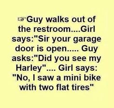 """Guy walks out of the restroom. Girl says, """"Sir, your garage door is open."""" Guy asks, """"Did you see my Harley?"""" Girl says, """"No, I saw a mini bike with two flat tires."""""""