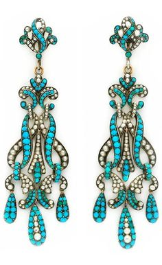 A Pair of Seed Pearl, Turquoise and Silver Ear Pendants, circa 19th Century. #antique #earrings